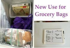 Organize your deep freeze with grocery bags!!