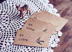 brown paper, little birds, paper tags, card, diy gifts