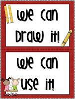 "Here's a set of labels for creating math vocabulary anchor charts. Includes ""We Can Draw It,"" ""We Can Use It,"" ""Our New Word Is,"" and ""It Means"" labels."