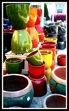 Colorful clay pots.