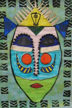 Adinkra print background   African mask design with symmetry