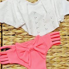 Brazilian Bow Bikini Bottoms in Neon Coral by AZTECASWIMWEAR