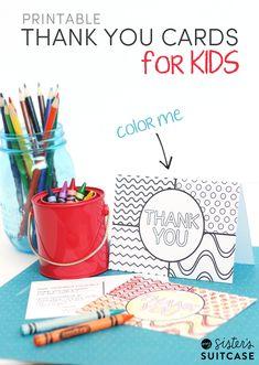Kids thank you card free printable