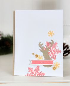 Rustic Joy card by Dawn Woleslagle for Wplus9 featuring the Snowflake Backdrops and Stag Trio Die.