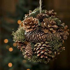 balls, kiss ball, natur pinecon, ball holiday, natur craft, craft idea, holidays, christma craft, holiday crafts