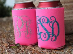 Hot Pink Glitter Monogrammed Can Koozie