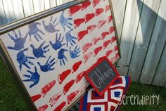make an american flag with hand prints and foot prints