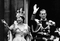 HRM Queen Elizabeth II and the Duke of Edinburgh on her Coronation Day on 2 June 1953.
