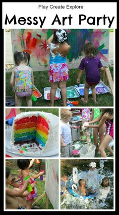 Messy Art/ Rainbow Theme Outdoor Birthday Party. Love the canvas idea! Put tape on it saying, Happy 2nd Birthday, so when the paint covers the whole canvas you can take off the tape and have a fun decoration for photo shoot.