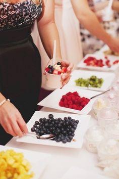 yogurt/fruit bar, cute brunch idea. Morning of the wedding for the bridal party.