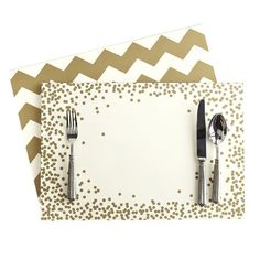 Gold Chevron and Confetti Paper Placemats | Mark and Graham