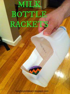 www.laughingkidslearn.blogspot.com.au  Reusing a milk bottle for games