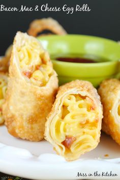 Bacon Mac Cheese Egg Rolls from Miss in the Kitchen 1 Bacon Mac & Cheese Eggrolls