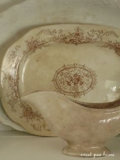this awesome patina on old ironstone dishes