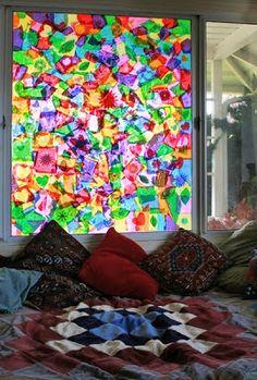 tissu paper, window collag