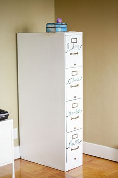 change up an old filing cabinet into something new