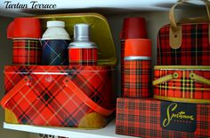 Vintage Tartan lunch kits and tins