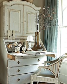 french decor office ideas | ... blue-french-decorating-gustavian-eclectic-home-decor-ideas%5B1%5D.jpg Wall Colors, Offices Spaces, Cabinets, White, Writing, Master Bedrooms, Traditional Home, Secretary Desks, Atlanta