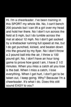 the reason I am tougher than most, is definitely from cheerleading ;)