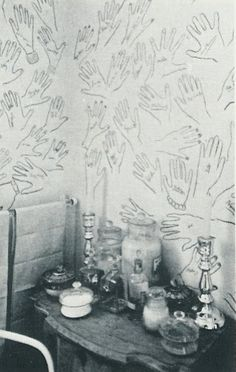 Stacy Costner, this reminds me of something you would do!!!  Cecil Beaton's house. He would ask guests to stencil their hand and sign it.