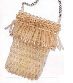 homemade handbag for your phone from the white beads