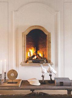 raised fireplace.