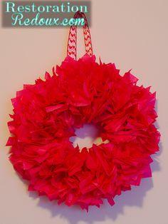 Tissue Paper Wreath http://www.restorationredoux.com/?p=2804
