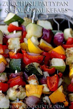 Zucchini, pattypan squash, halloumi & pepper kebabs - perfect on the barbecue!     cooksister.com  #vegetarian #barbecue #recipe #glutenfree