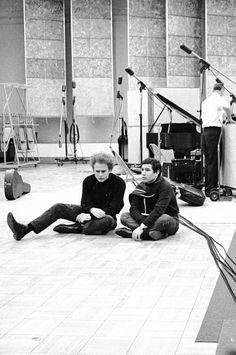 Simon and Garfunkel in the studio.