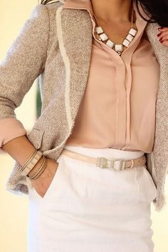 Work attire. White skirt, beige tie jacket, peach sweater. I like this. jacket, skirt, fashion, color schemes, neutral palette, business casual outfits, work outfits, blush, business outfits