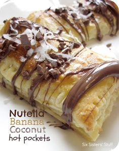 Six Sisters' Stuff: Nutella Banana Coconut Hot Pockets Recipe  -- Pepperidge Farms' puff pastry is vegan; use Justin's dark chocolate hazelnut butter; use vegan cream instead of beaten egg for the wash (the cream should help brown the pastry like the egg would). hot pockets, coconut hot, nutella recipes, puff pastries, breakfast snacks, nutella banana, six sisters stuff, banana coconut, dessert