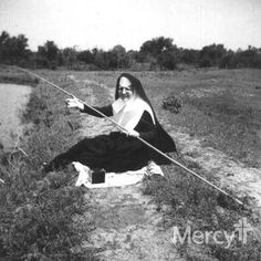What's your favorite fishing spot? This Sister of #Mercy is enjoying a summer day outside with her fishing pole! #throwbackthursday #tbt