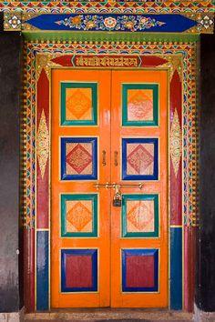 Buddhist temple door. Ladakh, India