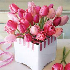Pink Flower Arrangements Centerpieces   Tulips - Flower Arrangements with Tulips - Good Housekeeping Pink Flowers, Spring Flowers, Easter, Centerpiec, Ribbons, Tape, Tulips, Place, Garden
