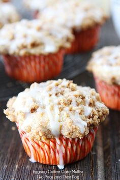 Eggnog Coffee Cake Muffins Recipe on twopeasandtheirpod.com Perfect for Christmas brunch!