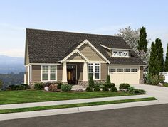 Tell us what you think about this new craftsman cottage #houseplan with daylight basement? It's ideal for narrow, sloping lots. http://www.thehousedesigners.com/plan/brandywine-1887/