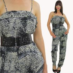 Palazzo Jumpsuit Romper Snake Jumpsuit Sexy Jumpsuit Disco Jumpsuit Summer Jumpsuit Party Jumpsuit Romper Long Romper Jumpsuit Grey Romper