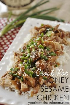 Crock Pot Honey Sesame Chicken @yourhomebasedmom.com