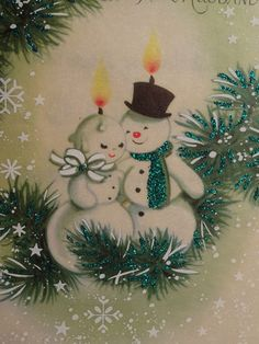 Mr Mrs Snowman Candles Vintage Christmas
