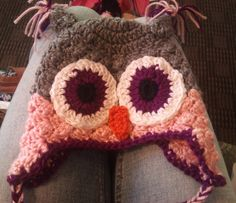 Owl Hat Pattern:  My variation, in my opinion, looks a little like a textured hat, to sort/kinda give the appearance of feathers.  Simply start the hat as you would for whatever size crown, and then *sc,2dc in  sc;  skip next 2 stitches repeat from * join with sl st in 1st sc.  ch 1 and repeat from * again until hat is desired size.
