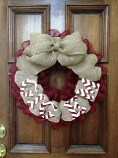 Adorable burlap and Mesh combo Gig Em Aggie Wreath with chevron painted wooden letters.