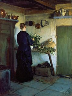 poboh: Kitchen Interior. The artist's wife arranges flowers, 1884, Viggo Johansen. Danish Realist Painter (1851-1935)