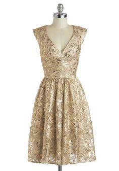 Twinkling at Twilight Dress - Gold, Tan / Cream, Cutout, Lace, Sequins, Cocktail, Holiday Party, A-line, Sleeveless, V Neck, Winter, Better