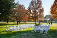 Fall foliage creates a perfect backdrop for this outdoor ceremony at The Bolger Center. {The Bolger Center}