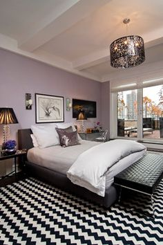 """""""Neat combination of colours - master bedroom"""" """"Mauve black and white bedroom"""" """"(BM Iced Mauve)...Master bedroom...Moore iced mauve...Balcony off bedroom...#2115-5- Iced Mauve...LOVE THIS BEDROOM...#2115-5- Iced Mauve"""""""