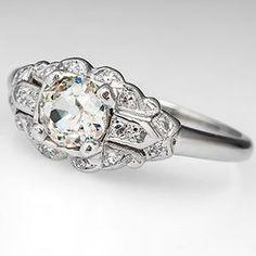 Antique Old Mine Cut Diamond Engagement Ring Platinum 1930's
