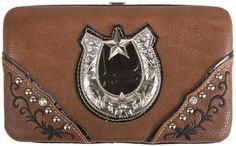 Brown Silverplated Horseshoe Studded Flat Wallet - http://handbagscouture.net/brands/private-label/brown-silverplated-horseshoe-studded-flat-wallet/