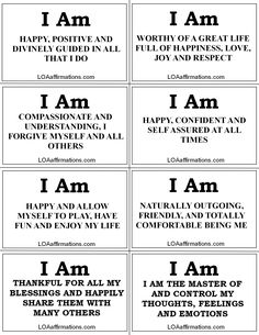 I Am Happy- Affirmations for you to print, share, live by and spread the joy!!!!    - Much more is waiting for you at www.loaaffirmations.com  Come join our LOA Family of over a quarter million like minded law of attraction members at www.facebook.com/loaaffirmations