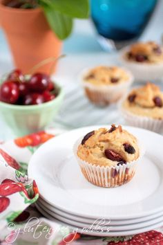 Whole grain gluten-free (sugar-free) cherry almond muffins
