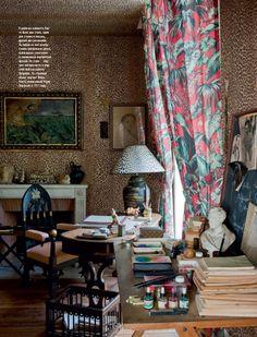 interior, office spaces, country houses, art studios, offices, leopards, jean cocteau, homes, leopard prints